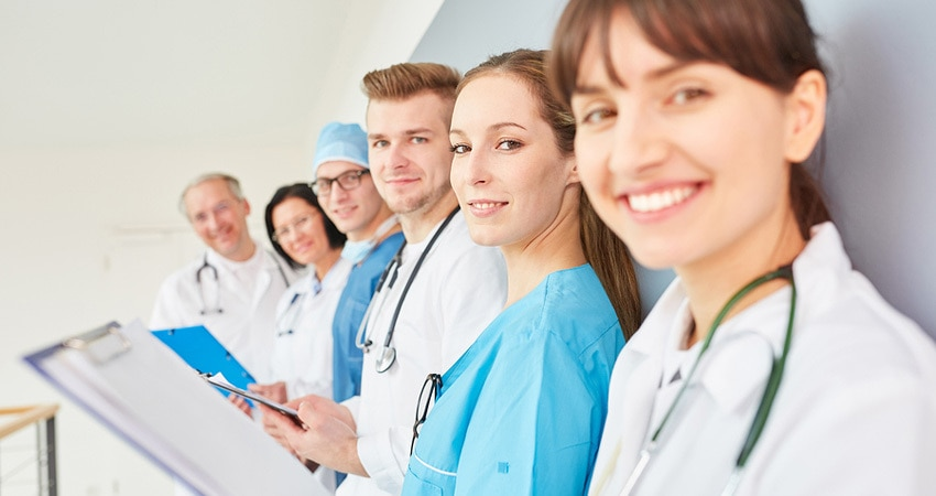 Group of doctors in physician apprenticeship as a team in traini